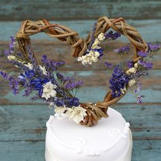 Provence Dried Flower Willow Heart Cake by EnglishFlowerFarmer