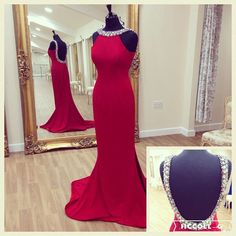 Red Beaded Jewel Neck Prom Dress ,Floor Length Formal Gown, Evening Dress With Open Back,Red High Neck Party Dress