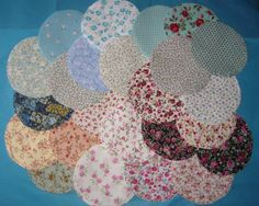 50 Jam Jar Covers & Ribbons -Shabby Chic Handmade-Cotton Fabric-Wedding Favours-Your Choice. £29.99, via Etsy.