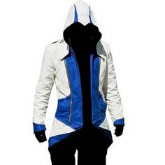 Halloween Costume Mens Fashion Hoodie Assasins Creed Conner Kenway Hooded Jacket White with Blue