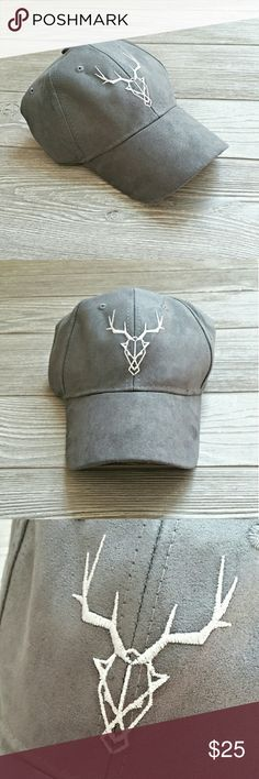 Suede Ball Cap Grey suede geometric design ball cap for women. Super cute and I wear mine all the time!! Yours will be never worn NWT. Adjustable faux leather covered cloth strap. 100% cotton and made in China.   Bundle to save even more!! Accessories Hats