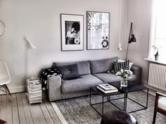 Grey and black living room. Via decorating a future