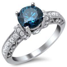 Pretty. Noori 14k Gold 1 3/8ct Round Blue and Diamond Ring