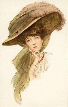 Beautiful Woman Big Pink Feather Hat Pin Lady Plain Back Vtg Antique Postcard   eBay