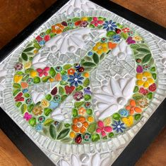 Framed peace sign green and flowers in glass mosaic Ikea Frames, Mosaic Glass, Mosaics, Murals, Ladybug, Peace, Sign, Ceramics, Tableware
