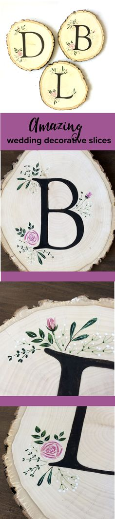 Amazing painted slices with #letter for #weddingdecor