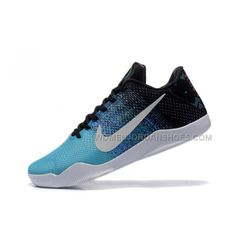 timeless design aa471 4baf8 2016 Nike Kobe 11 XI Elite Low Mens Basketball Shoes Sky Blue Black White  Sneakers Online Cheap For Sale