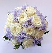 White Rose & Lilac Scabious Bridal Bouquet www.peonyflorist.co.uk