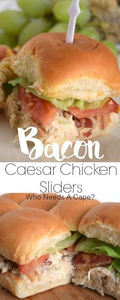 Bacon Caesar Chicken Sliders – Who Needs A Cape? Bacon Caesar Chicken Sliders are so delicious! Layers of seasoned chicken, bacon, lettuce, tomato on buttery rolls, perfect for parties or tailgating. Quesadillas, Instant Pot, Buttery Rolls, Tapas, Slider Sandwiches, Steak Sandwiches, Sliders Burger, Party Sandwiches, Bon Ap