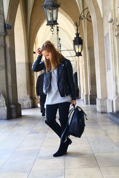 leather jacket, high boots, backpack, sweater, street fashion