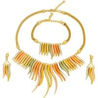 Wish | Dubai Fashion 2016 African Woman Exquisite 18K Gold Plated Colorful Feather Shape Bridal Wedding Jewelry Sets (Color: Gold)