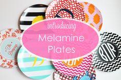 NEW - Monogrammed Melamine Plates - A Blissful Nest #monogramlove #monogramplates #melamineplates