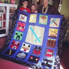 My mom made a Minecraft quilt for my son, Liam's, 11th birthday! He loves it. She made the pattern and the applique quilt blocks herself. @Melinda Fish