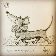 The Coloured Leaf Dachshund Drawing, Mini Dachshund, Daschund, Weenie Dogs, Doggies, Dibujos Cute, Little Dogs, Dog Art, Fur Babies