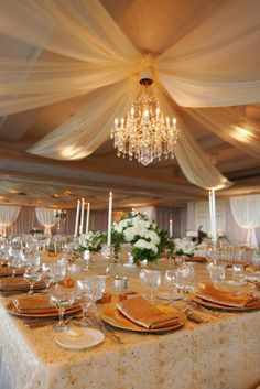 images wedding reception ceiling drape with chandelier Wedding Draping, Ballroom Wedding, Wedding Fabric, Chic Wedding, Wedding Styles, Wedding Ideas, Dream Wedding, Garden Wedding, Wedding Inspiration