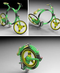 "Locust Flexible Folding Bicycle created by Josef Cardek: ""The idea behind the Locust was developed in a very analytical way: I asked myself what parts of a normal bike can never fold? Wheels, of course. So everything else must be subordinated to wheels…and from this idea it was clear to me what shape the bike will have. Also, one of my core objectives was to keep 'classic conservative geometry', using the biggest wheels possible to achieve the easy handling and feel of a normal bike."""