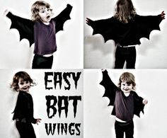 How To: Easy Bat Wings for Halloween or Dress Ups. My mom made bat wings for me one Halloween! Diy Halloween, Bat Halloween Costume, Holidays Halloween, Diy Bat Costume, Vampire Costume Kids, Vampire Bat, Fantasia Diy, Costumes Faciles, Halloween Karneval