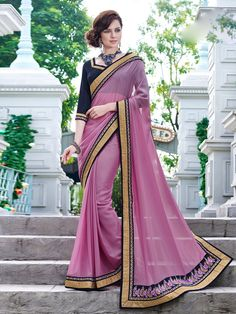 Pink Georgette Saree with Embroidery #bandbaajaa.com #bandbaajaa #weddingsarees #weddingsaris #bridalsarees #bridalsaris #designersarees #designersaris #sarees #saris #weddingwear #weddingshopping