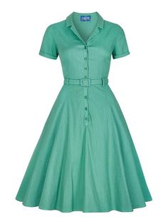 A fashion look from February 2017 featuring vintage swing dress and white shoes. Browse and shop related looks. Vintage Looking Dresses, Vintage Style Dresses, 50s Dresses, Blue Dresses, Dresses For Work, Dress Vintage, Rockabilly Dresses, Robe Swing, Swing Dress