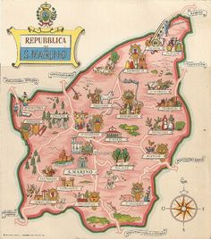 San Marino - Map of the country with towns and municipalities 1937