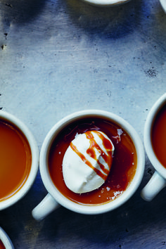 Recipe: Butterscotch Pots de Crème with Salted Caramel. The dramatic contrasts in flavour and texture are deeply satisfying—smoky caramel-flavoured custard, combined with whipped cream fraiche, thick caramel sauce, and flaky sea salt.