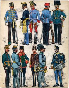 """79. Lieutenant, 4th Hussars; 80. Officer, German Infantry Regiment No. 94; 81. Lieutenant, 6th Lancers; 82. NCO, 8th Lancers; 83. Corporal (Sergeant-Major in the Army), Life Guard Infantry Company; 84. Medical Officer, Honved Medical Troops; 85. Officer, Jäger; 86. Life Guard Cavalry Squadron 87. Official, Border Administration Department, Hungarian Section; 88. Bugler, Kaiserjäger. 89. Drummer, Hungarian Infantry Regiment No. 16. Extract from: AE Haswell Miller & John Mollo. """"Vanished…"""