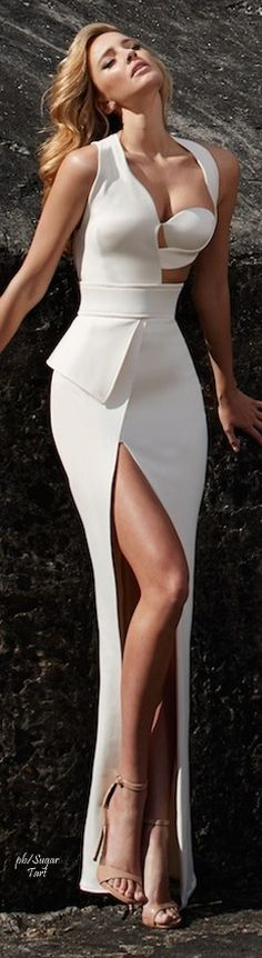 White maxi prom dress. women fashion outfit clothing style apparel @roressclothes closet ideas