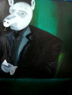 """"""" Atascadito """" , Oleo Sobre Tela , Rogelio Perez Cano , 2015 , Serie """" La Noche del Puerco """" ."""
