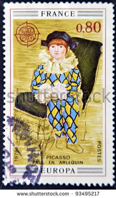 """FRANCE - CIRCA 1975: A stamp printed in France shows the work """"Paul the harlequin"""" by Pablo Picasso, circa 1975"""