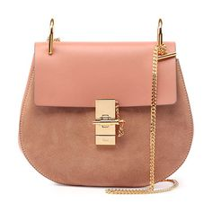 Drew leather & suede shoulder bag by Chloe. Chloe small shoulder bag in suede and leather. Golden brass hardware. Curb chain shoulder strap. ...