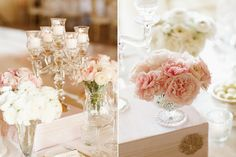 Arrangements of Pink-and-White Ranunculus, Garden Roses, and Peonies Mixed with Glass Candelabras