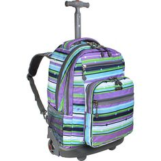 J World New York Sundance Laptop Rolling Backpack ($51) ❤ liked on Polyvore featuring bags, backpacks, purple, wheeled backpacks, mesh backpack, mesh bag, purple laptop bag, purple backpack and laptop backpack