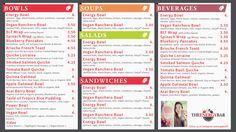 Digital Menu Design for The Energy Bar. http://menuat.com