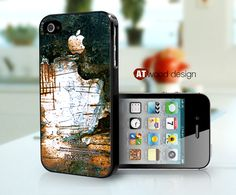 iphone 4 case iphone 4s case black  iphone 4 cover ragged antique metal texture image design printing. $13.99, via Etsy.