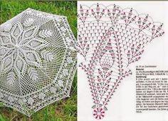 Crochet white umbrella ♥LCU-MRS♥ with diagram. Filet Crochet, Col Crochet, Beau Crochet, Crochet Motifs, Crochet Diagram, Crochet Home, Thread Crochet, Crochet Doilies, Crochet Stitches