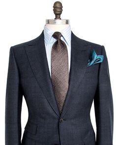 Ermenegildo Zegna Navy Check Suit 2 button jacket Pick stitch detailing Peak…