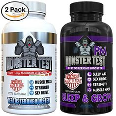 Testosterone-Booster-For-Men-2-Pk-Bundle-180-Tablets-Capsules-Monster-PM-contains-Sleep-Aid-to-Build-Muscle-Mass-Boost-Energy-Drive-All-Natural-Ingredients-Made-In-The-USA-Best-Gift-for-Dad #testosteronebooster#test#fitness#musclegains#weightloss