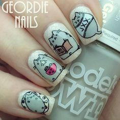 Check out the super cute Pusheen nail art by @geordie_nails So cute!