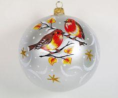 """Birds"" Hand-Painted Christmas Ball Ornament http://www.xmasornamentsworld.com/Birds-Hand-Painted-Christmas-Ball-Ornament-p-48.html"