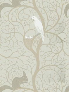 Squirrel & Dove, a designer wallpaper from Sanderson, featured in the Sanderson Vintage Wallpapers collection.