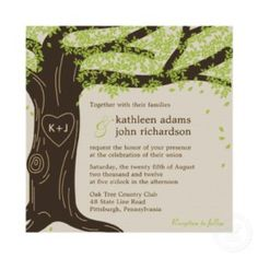 Wedding invitation with a country look .... love the initials carved in the trunk of the tree! http://www.weddinginvitations123.net/product/161975274770094773