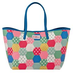 Patchwork Spot Large Leather Trim Tote
