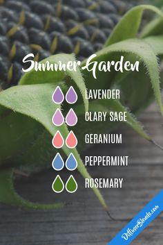 Summer Garden - Diffuser Blend - Lavender, Clary Sage, Geranium, Peppermint, Rosemary
