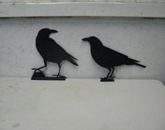 Inspiration Raven Crow 1 and 2 Mailbox Topper Metal Wildlife Wall Yard Art Silhouette Set of Two