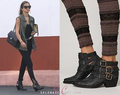 Selena Gomez was spotted out shopping with her mom at Topanga Mall today wearing these Jeffrey Campbell Buckle Back Ankle Boots. You can find them at Free People for $248. Buy them HERE Shes also wearing her Jet by John Eshaya Vest,Dolce  Gabbana Sunglasses, and Dolce  Gabbana clutch