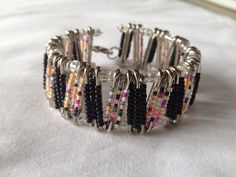 Retro & Black Safety Pin Bracelet by PerfectlyUnraveled on Etsy