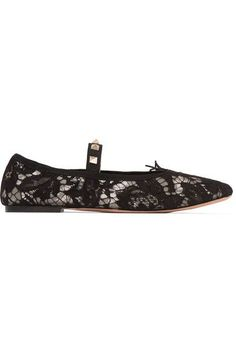 Valentino - Studded Corded Lace Flats - Black - IT
