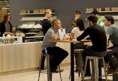 The coffee bar area in the center of the new offices at Square is a popular work…