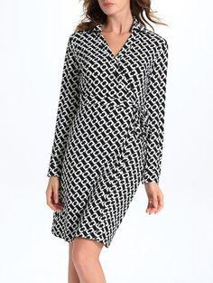 Geometric Print Midi Wrap Dress