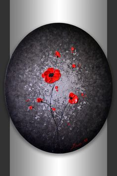 Original Modern Art 24x20 Oval Canvas Abstract Black Silver Landscape, Heavy Impasto Textured Red Poppies Painting, Mixed Media Artwork by ZarasShop